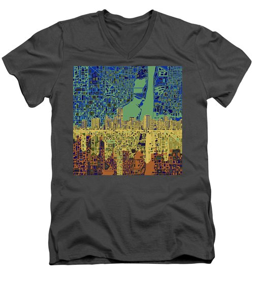 Miami Skyline Abstract 7 Men's V-Neck T-Shirt