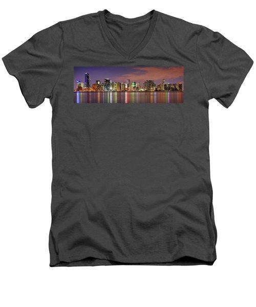 Miami Skyline At Dusk Sunset Panorama Men's V-Neck T-Shirt by Jon Holiday