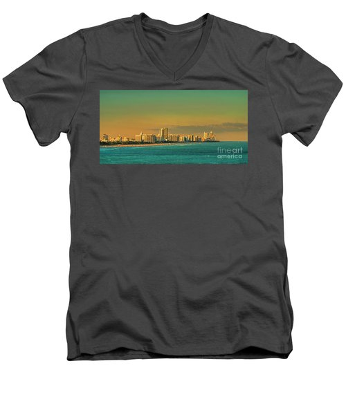 Miami Sunset Men's V-Neck T-Shirt by Olga Hamilton