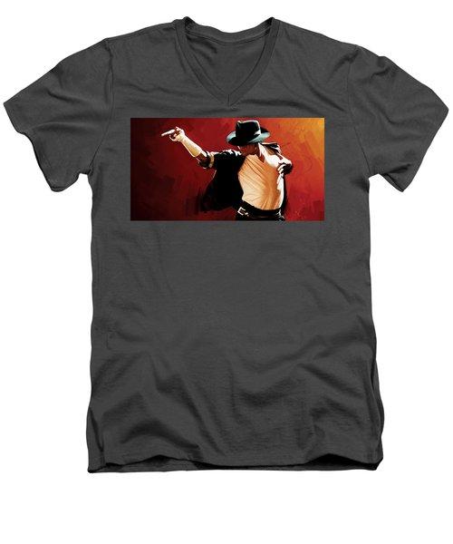Michael Jackson Artwork 4 Men's V-Neck T-Shirt by Sheraz A