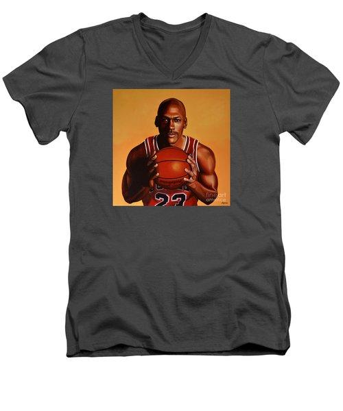 Michael Jordan 2 Men's V-Neck T-Shirt by Paul Meijering