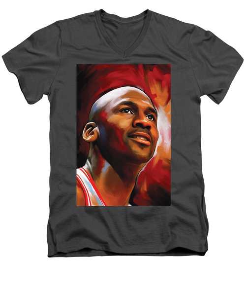 Michael Jordan Artwork 2 Men's V-Neck T-Shirt
