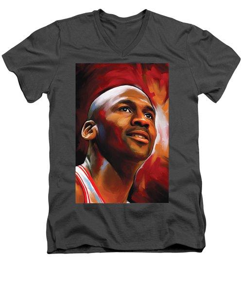 Michael Jordan Artwork 2 Men's V-Neck T-Shirt by Sheraz A