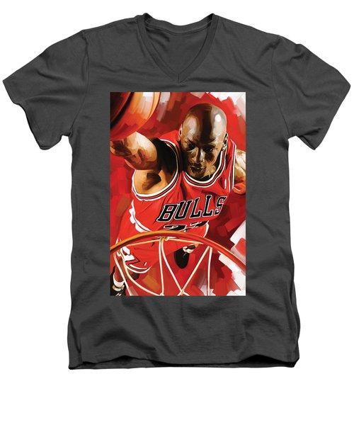 Michael Jordan Artwork 3 Men's V-Neck T-Shirt by Sheraz A