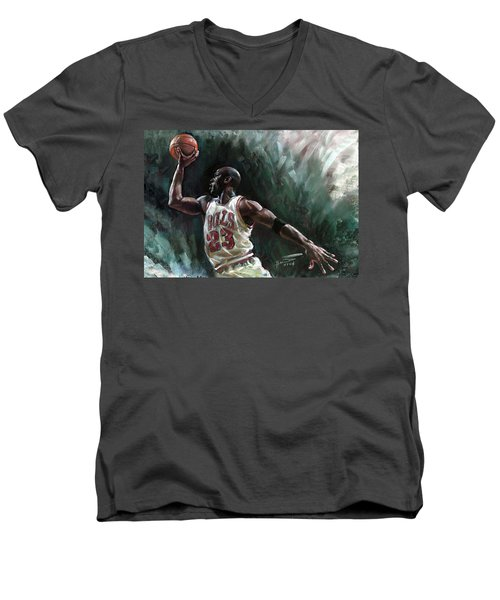 Michael Jordan Men's V-Neck T-Shirt by Ylli Haruni