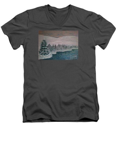 Men's V-Neck T-Shirt featuring the painting Michigan Winter by Jasna Gopic