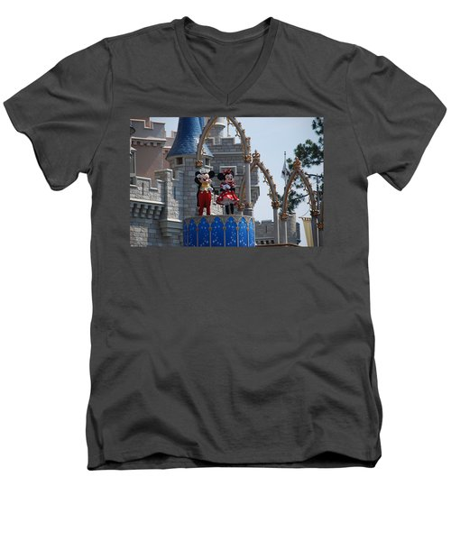 Mickey And Minnie In Living Color Men's V-Neck T-Shirt by Rob Hans