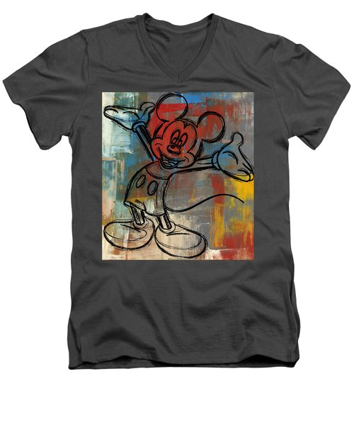 Mickey Mouse Sketchy Hello Men's V-Neck T-Shirt by Paulette B Wright