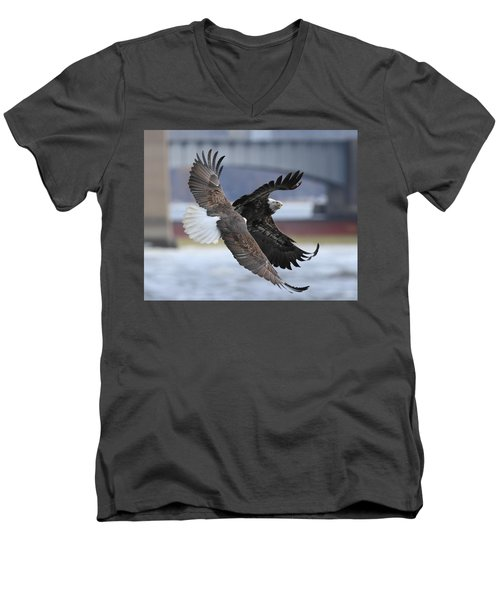 Men's V-Neck T-Shirt featuring the photograph Mid Air Fight by Coby Cooper