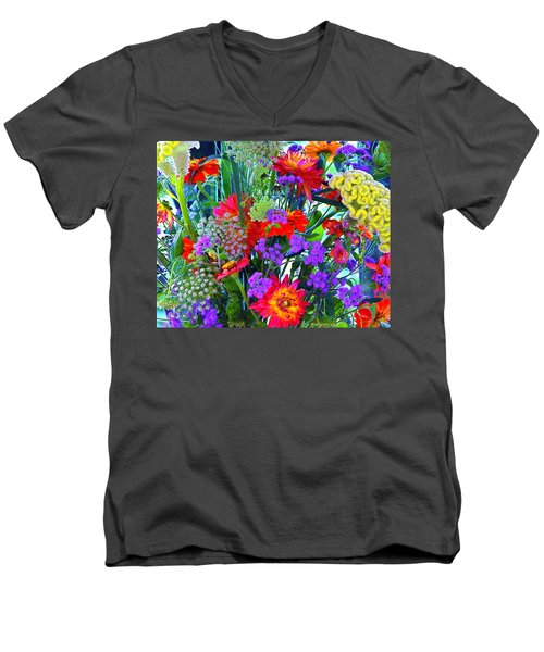 Men's V-Neck T-Shirt featuring the photograph Mid August Bouquet by Byron Varvarigos
