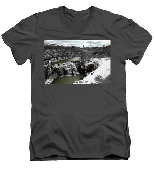 Middle Falls Rochester Ny Men's V-Neck T-Shirt by Richard Engelbrecht