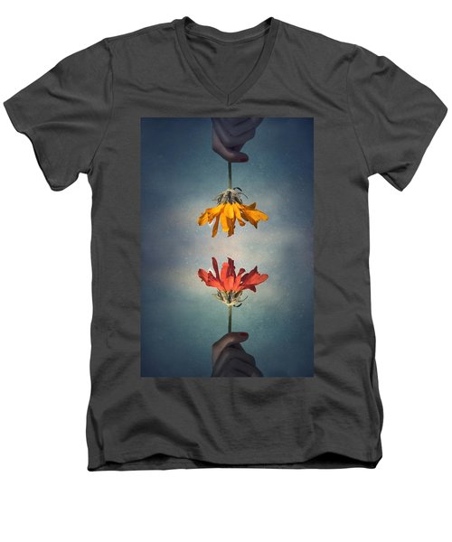 Men's V-Neck T-Shirt featuring the photograph Middle Ground by Tara Turner