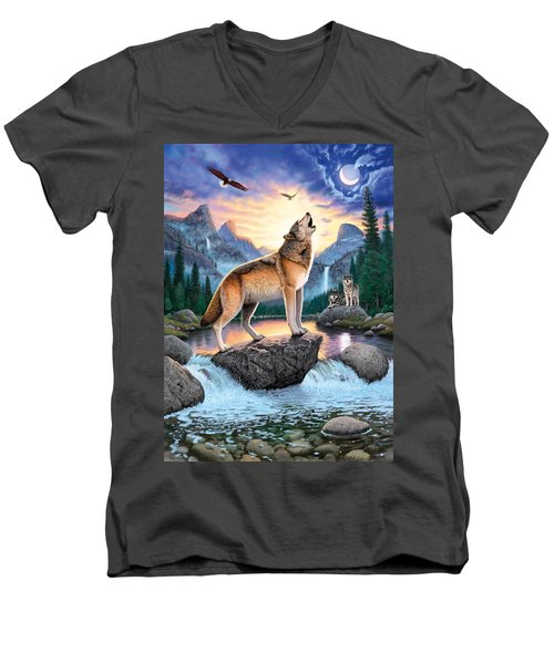 Midnight Call Men's V-Neck T-Shirt by Chris Heitt
