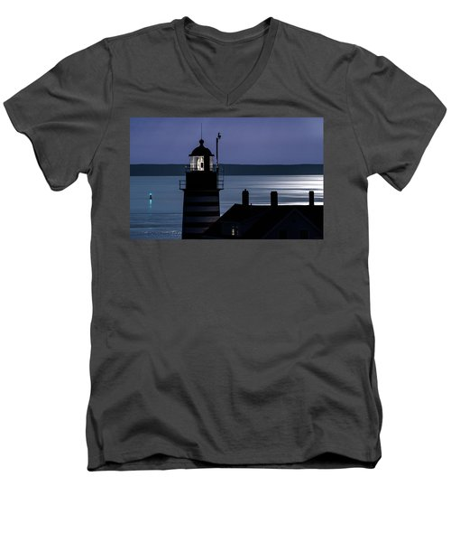 Men's V-Neck T-Shirt featuring the photograph Midnight Moonlight On West Quoddy Head Lighthouse by Marty Saccone