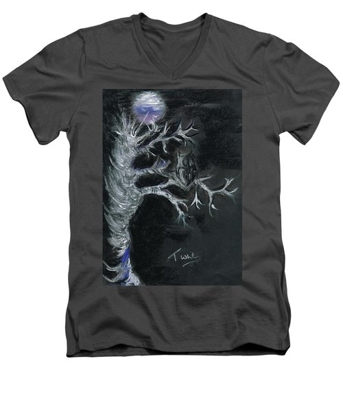 Men's V-Neck T-Shirt featuring the drawing Midnight Owl by Teresa White