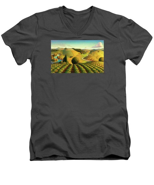 Men's V-Neck T-Shirt featuring the painting Midwest Vineyard by Robin Moline