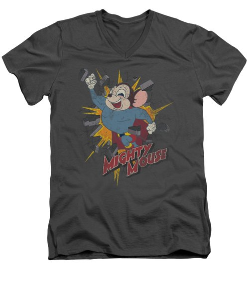 Mighty Mouse - Break Through Men's V-Neck T-Shirt