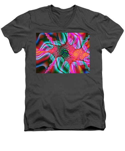 Men's V-Neck T-Shirt featuring the digital art Migraine by Elizabeth McTaggart