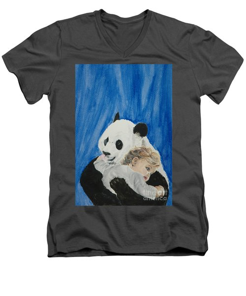 Mika And Panda Men's V-Neck T-Shirt