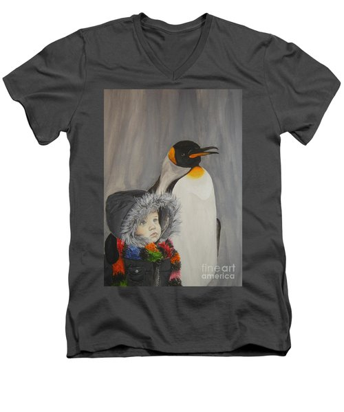 Mika And Penguin Men's V-Neck T-Shirt