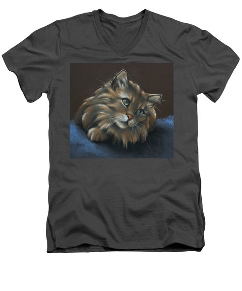 Men's V-Neck T-Shirt featuring the drawing Miko by Cynthia House