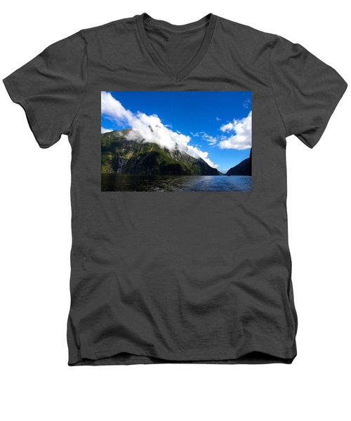 Men's V-Neck T-Shirt featuring the photograph Milford Sound #2 by Stuart Litoff