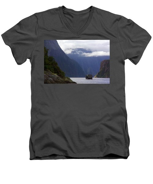 Men's V-Neck T-Shirt featuring the photograph Milford Sound by Stuart Litoff
