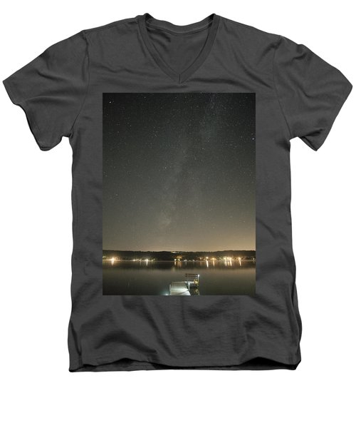 Milky Way Spills Into Conesus Men's V-Neck T-Shirt