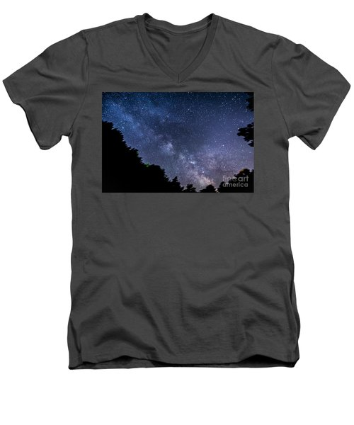 Milky Way Over Silver Springs Campground Men's V-Neck T-Shirt