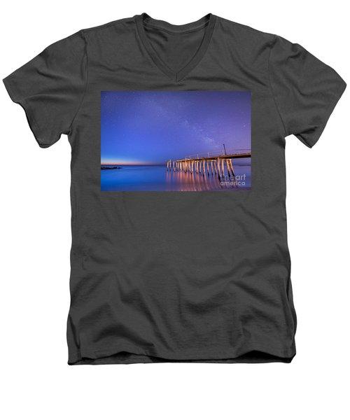 Milky Way Sunrise Men's V-Neck T-Shirt by Michael Ver Sprill