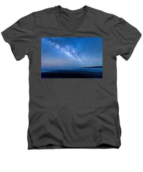 Milky Way Suspended Above Mauna Loa 1 Men's V-Neck T-Shirt