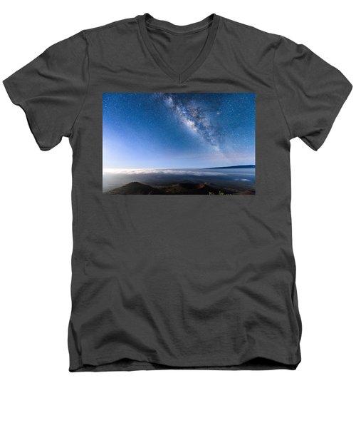 Milky Way Suspended Above Mauna Loa 2 Men's V-Neck T-Shirt