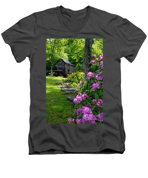 Mill And Rhododendrons Men's V-Neck T-Shirt