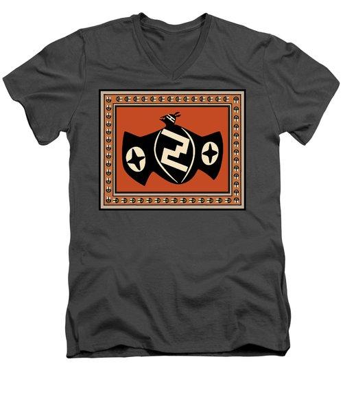 Men's V-Neck T-Shirt featuring the digital art Mimbres Tribal Bat Spirit by Vagabond Folk Art - Virginia Vivier