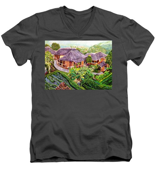 Men's V-Neck T-Shirt featuring the painting Mini Paradise by Belinda Low