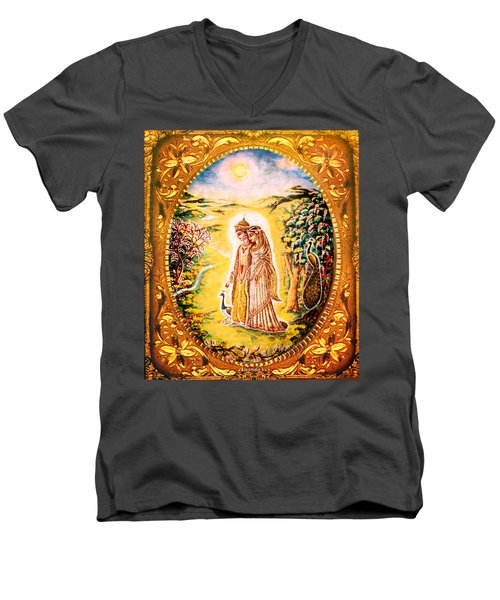 Miniature Rukmini-krishna  Men's V-Neck T-Shirt by Ananda Vdovic