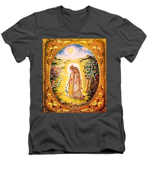 Men's V-Neck T-Shirt featuring the mixed media Miniature Rukmini-krishna  by Ananda Vdovic