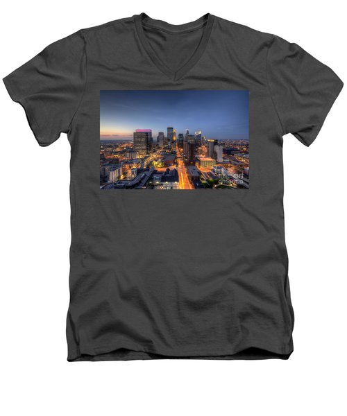 Minneapolis Skyline At Night Men's V-Neck T-Shirt