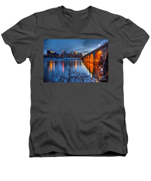 Minneapolis Skyline Images Stone Arch Bridge Spring Evening Men's V-Neck T-Shirt