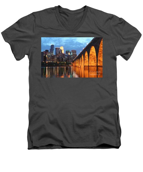 Minneapolis Skyline Photography Stone Arch Bridge Men's V-Neck T-Shirt