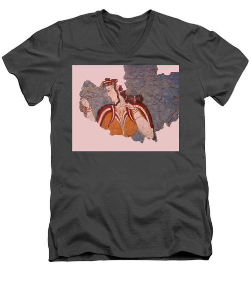 Minoan Wall Painting Men's V-Neck T-Shirt