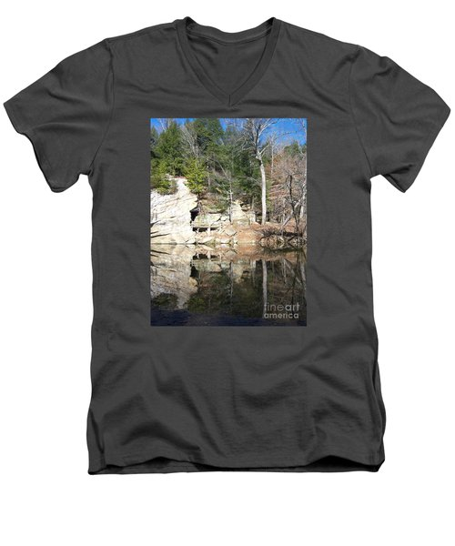 Men's V-Neck T-Shirt featuring the photograph Sugar Creek Mirror by Pamela Clements