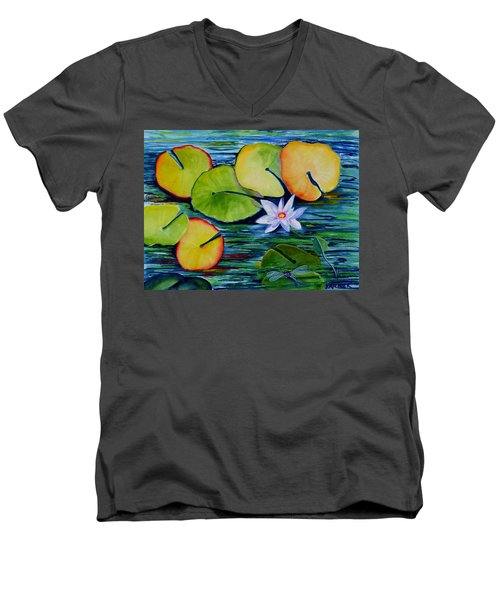 Whimsical Waterlily Men's V-Neck T-Shirt