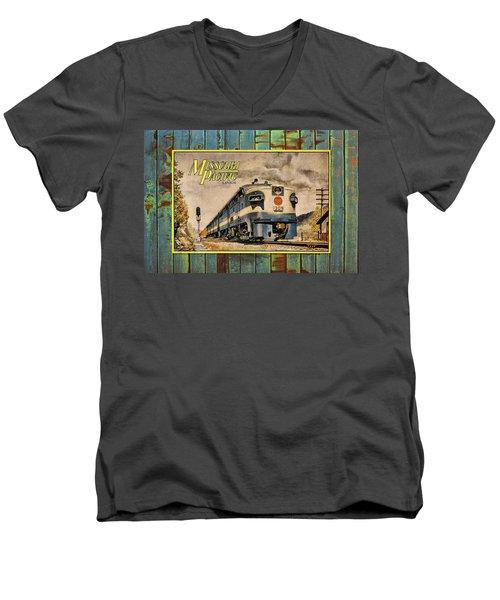 Missouri Pacific Lines Sign Engine 309 Dsc02854 Men's V-Neck T-Shirt by Greg Kluempers