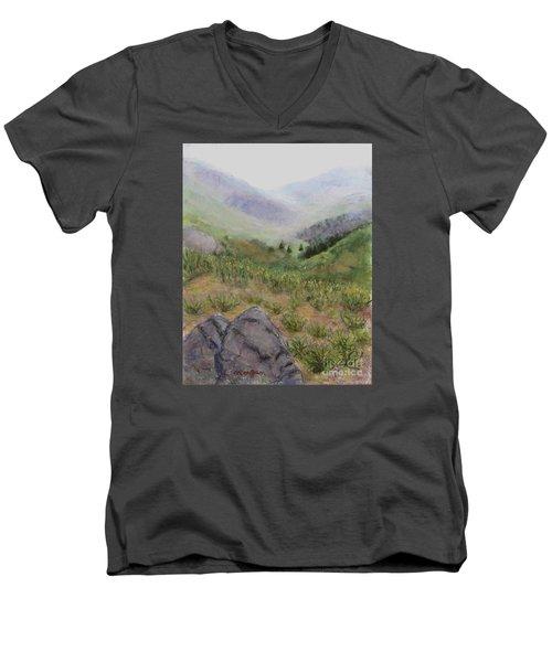 Mist In The Glen Men's V-Neck T-Shirt by Laurie Morgan