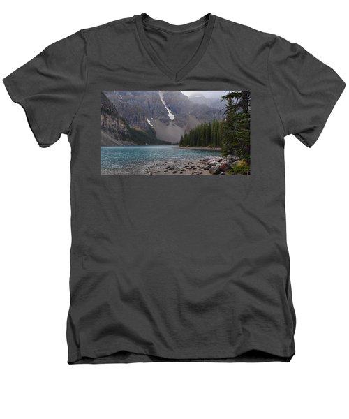 Mist Over Lake Moraine Men's V-Neck T-Shirt by Cheryl Miller