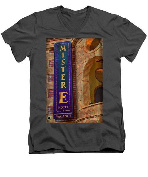 Mister E Hotel - Vacancy Sign Men's V-Neck T-Shirt by Liane Wright