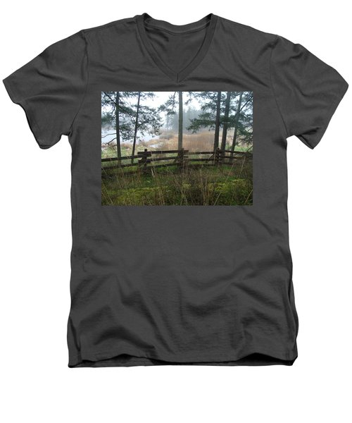 Men's V-Neck T-Shirt featuring the photograph Misty Flats by Cheryl Hoyle