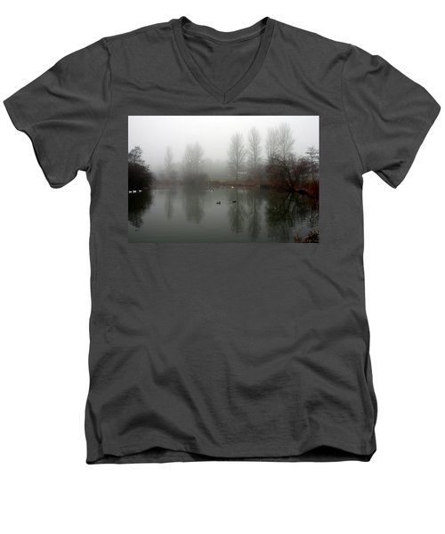 Misty Lake Reflections Men's V-Neck T-Shirt