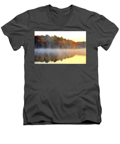 Misty Morning At Stoneledge Lake Men's V-Neck T-Shirt